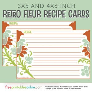 Retro Fleur Recipe Card Template