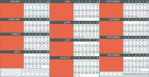 Burnt Sienna Printable Pocket Calendar
