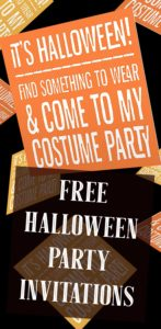Striped Printable Costume Party Invitations