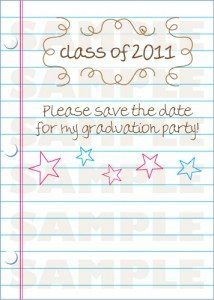 Loose Leaf Grad Invitation Postcards