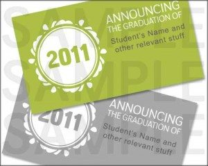 Lime Gray Seal Modern 2011 Graduation Announcements