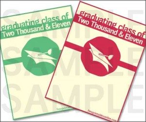 Red & Green Mortar Board Seal Graduation Announcements