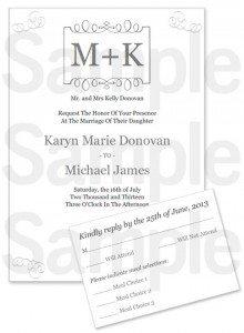 Monogram Printable Wedding Invitation Set