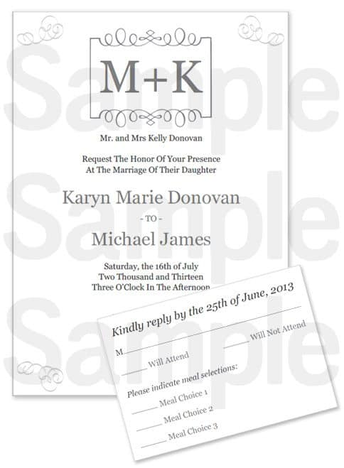 PRINTABLE WEDDING INVITATION SET