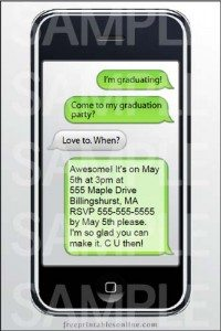 Free iPhone Text Graduation Party Postcards