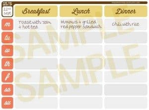 Get Those Meals Down – Printable Weekly Meal Planner
