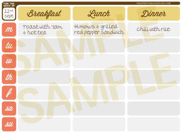 Get Those Meals Down  Printable Weekly Meal Planner  Free