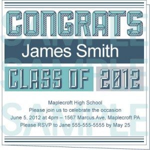 Boyish Blue Printable Graduation Party Invite