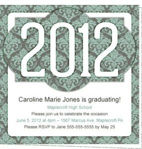 Victorian 2012 Personalized Grad Party Invite