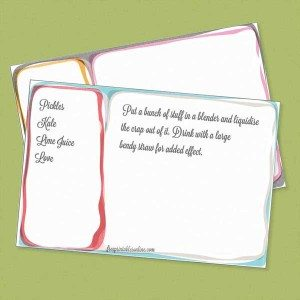 Funky Free Printable 4×6 Inked Recipe Cards