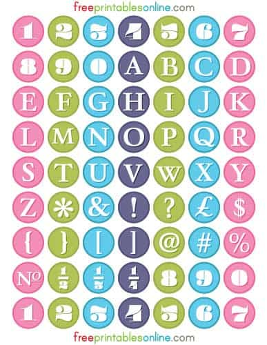 Alphabetic & Numeric Round Printable Labels