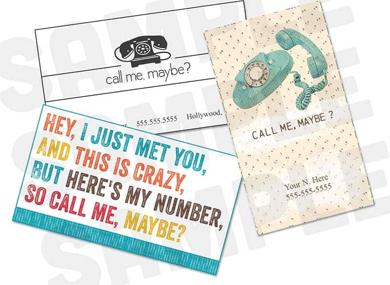 So Call Me Maybe Business Cards Trio : Free Printables Online