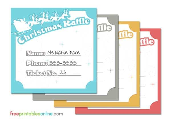 Santa and his reindeer christmas raffle tickets free for Template for raffle tickets to print