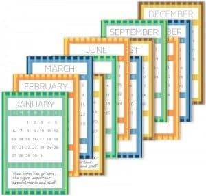 Free 12 Month Striped 2013 Calendar