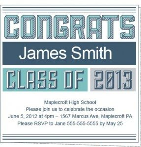 2013 Collegiate Personalized Graduation Party Invitations
