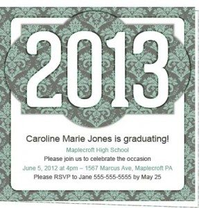 Victorian 2013 Personalized Grad Party Invite