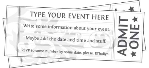 Free Printable Event Ticket Templates – Templates for Tickets
