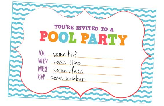 fun kids pool party invites free printables online. Black Bedroom Furniture Sets. Home Design Ideas
