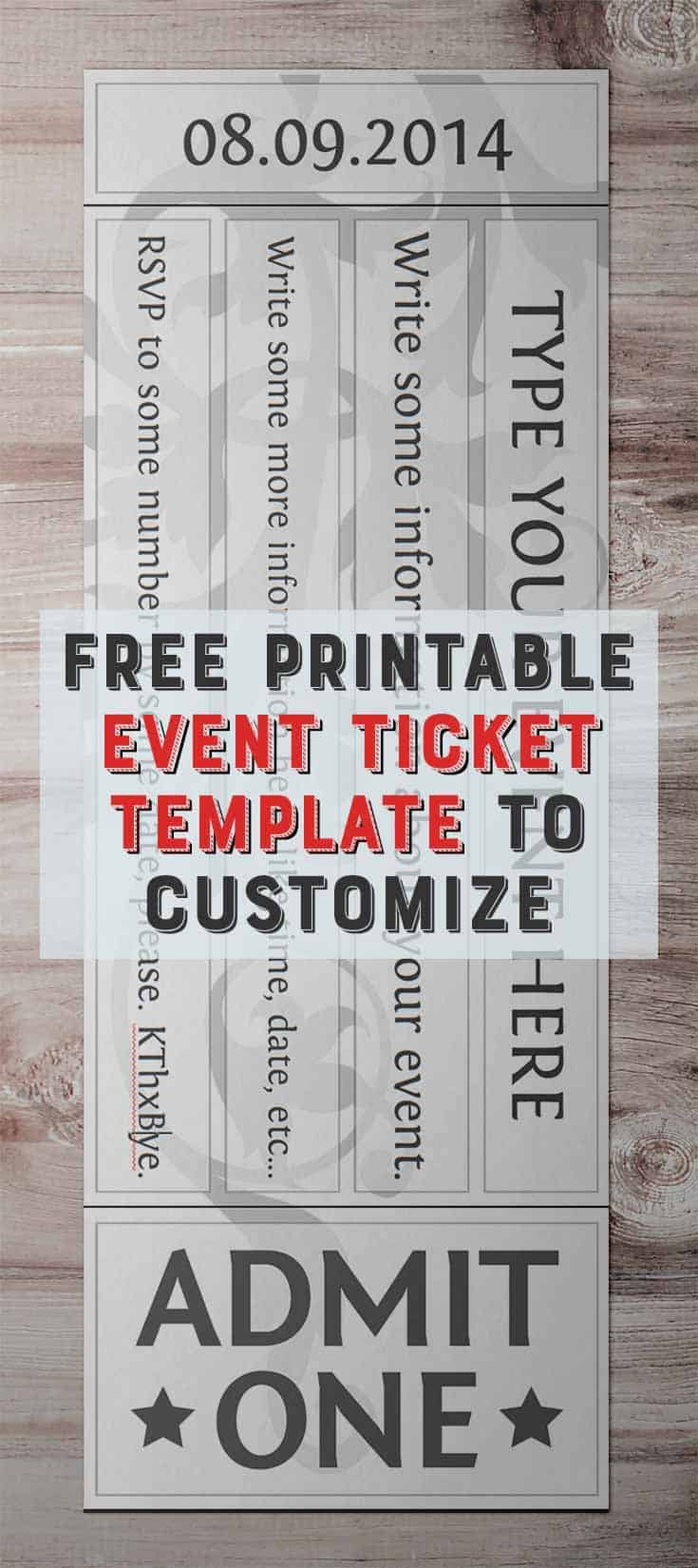 picture relating to Free Printable Tickets Template known as Absolutely free Printable Party Ticket Template towards Personalize