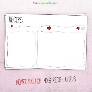 Sketched Heart Valentine Recipe Card