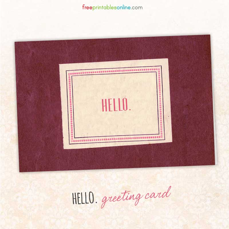 Hello Greeting Card (Blank)