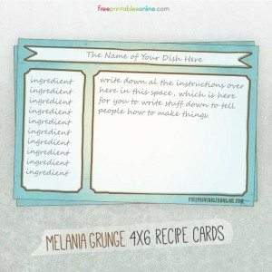Melania Grunge Downloadable Recipe Cards