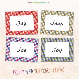 Print Pretty Plaid Table Place Card Holders