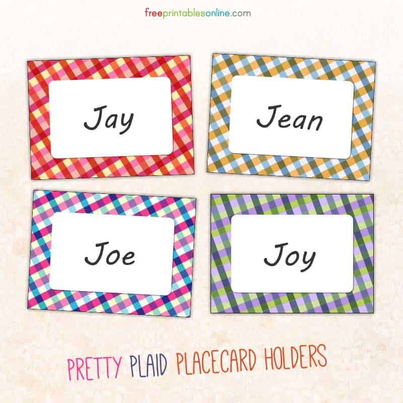 Pretty Plaid Table Place Card Set
