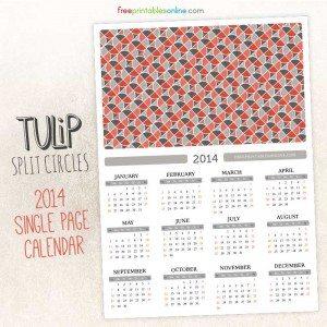 Modern Tulips 2014 Single Page Calendar