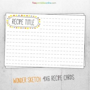 Cute Wonder Sketch Recipe Card