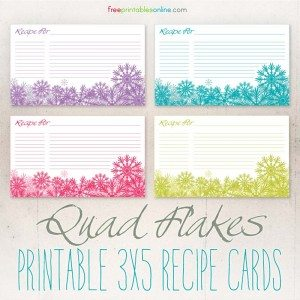 Quad Flakes Downloadable Recipe Cards