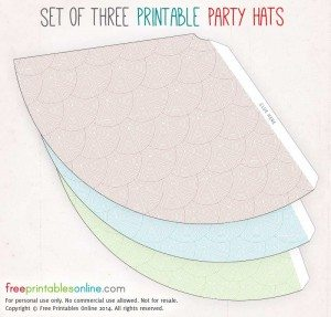 Tri Colored Printable Party Hats