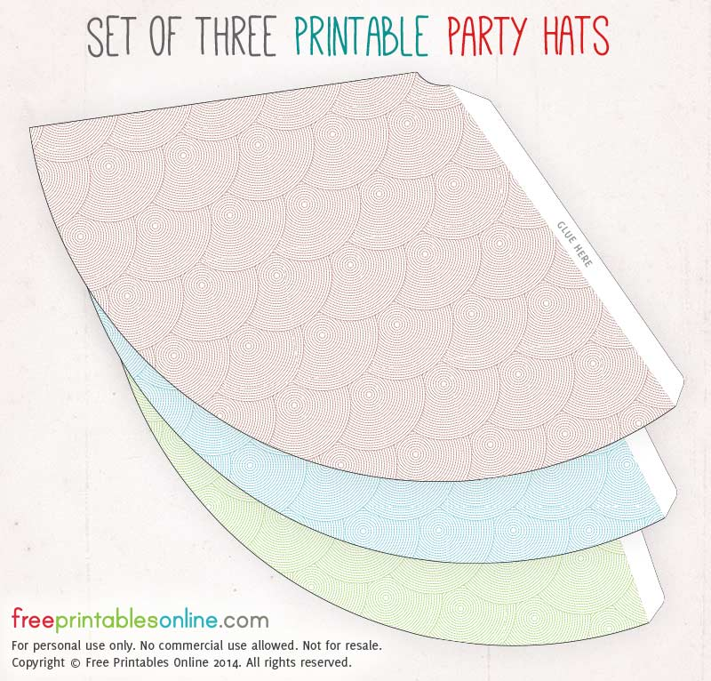 Set of Three Dotted Circles Printable Party Hats