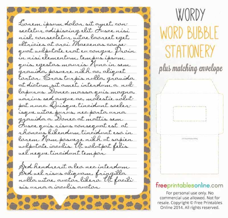 Wordy Free Printable Stationery Paper and Envelope