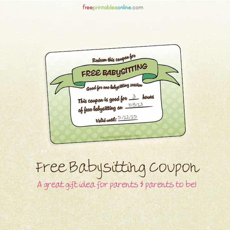 image about Printable Babysitting Coupon identified as Totally free Babysitting Coupon - Absolutely free Printables On-line