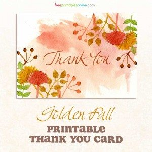 Golden Fall Thank You Card