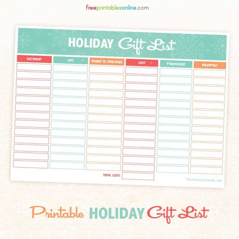 Printable Holiday Shopping List