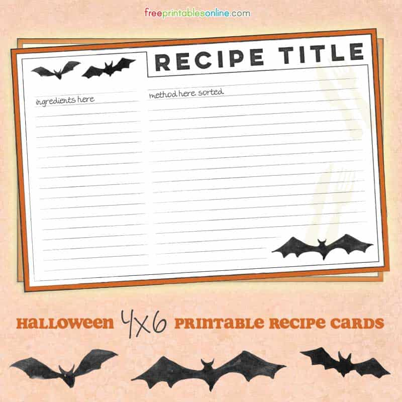 Halloween Recipe Cards with Bats - Free Printables Online