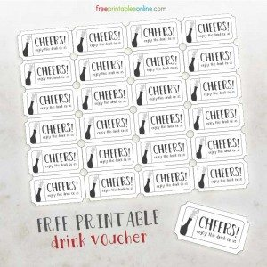 Cheers Free Printable Drink Vouchers