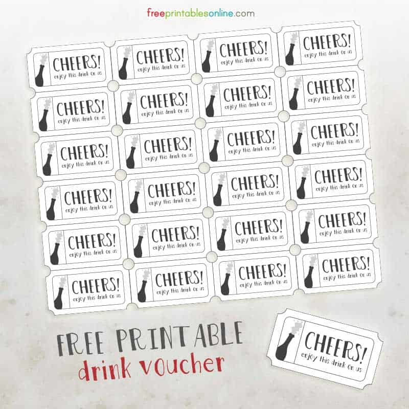 Elegant Cheers On Us Printable Drink Voucher