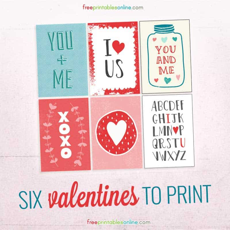 Six Valentines to print