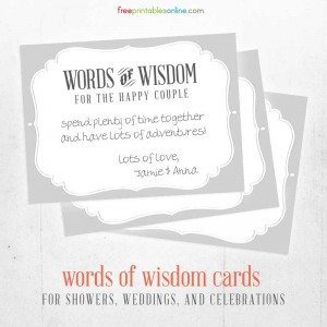Words of Wisdom Printable Cards for the Happy Couple