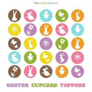 Cute Easter Themed Cupcake Toppers to Print