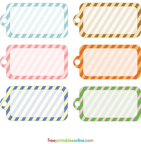 Blank Printable Simple Stripes Gift Tag Template | Free Printables ...