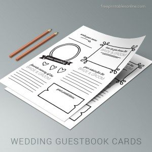 Free Illustrated Wedding Guest book Cards
