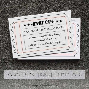 Black and White Printable Admit One Tickets
