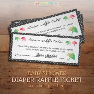 Baby Shower Printable Diaper Raffle Tickets