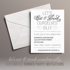 Eat and Drink Free Dinner Party Invitations
