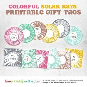 Colorful Solar Rays Printed Gift Tags
