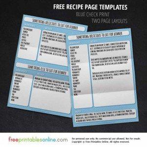 Blue Check Recipe Page Template Set
